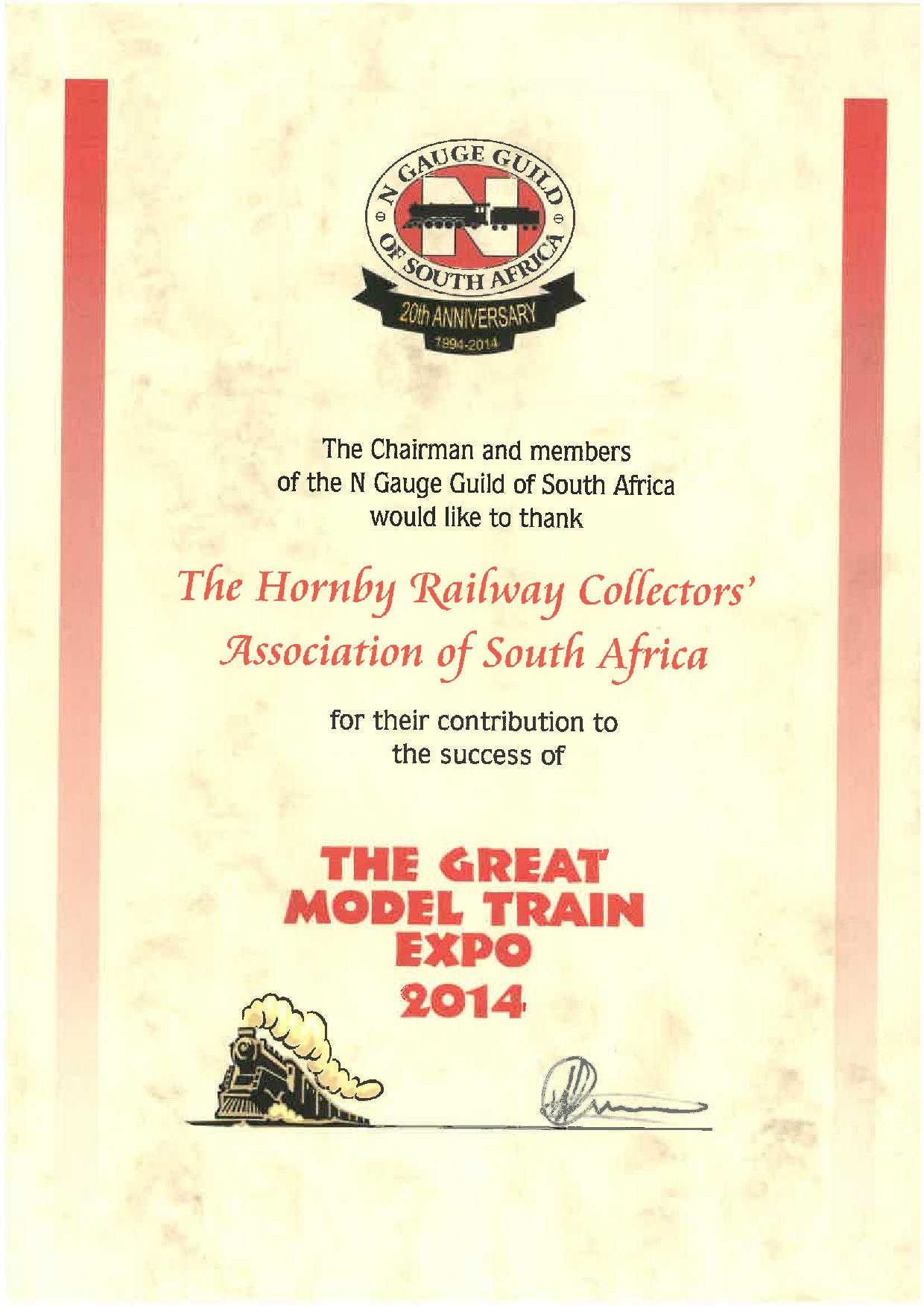 Certificate presented by the N Gauge Guild of South Africa